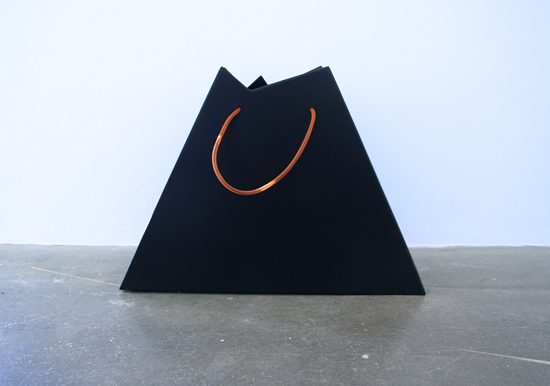 'IUNX', 2013, Car-sprayed mild-steel, steel cable, nail varnish, nylon tubing
