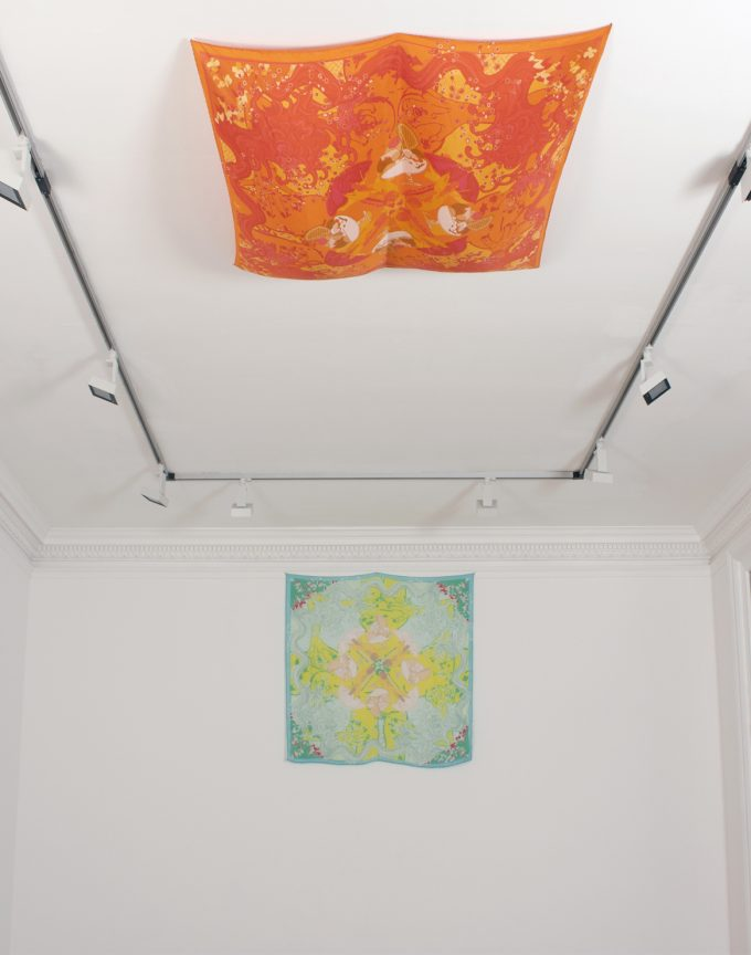 Solo Presentation. On wall: 'Still Same Sexy, Morning Light', 2017 digital print on biodynamic organic Japanese habotai silk 135 x 135 cm; Ceiling: 'Still Same Sexy, Afternoon Heat', 2017 digital print on biodynamic organic Japanese habotai silk 135 x 135 cm