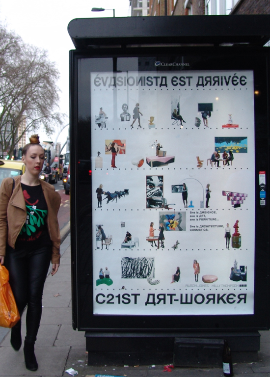 C21st ART-WORKER, 2016, digitally printed poster, 120 x 180cm, 2016 (with Alison Jones); displayed on Clear Channel adboard, Old Street roundabout throughout February.