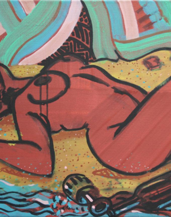 'Drunk woman on a beach', 2014, Oil and acrylic on canvas, 61 x 46cm