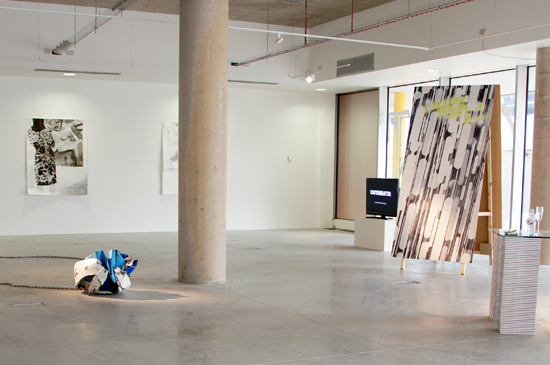 Installation view, back wall: 'Art House', Alison Jones. Foreground left to right: 'Suite 2', Nicole Wermers; 'Contaminator', Josephine Meckseper; 'Romance Posters, Series II', Milly Thompson