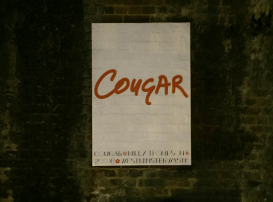 'Cougar', 2016, inkjet print on archival paper, edition of 10, 84 x 119 cm (shown installed under Rollins Street bridge outside Westminster Waste)