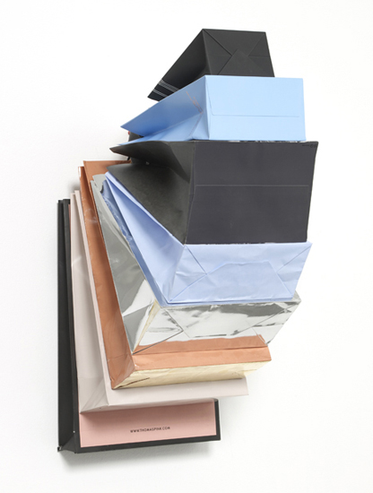 'Muse Privé ~ Pale Dawn', 2013, Bags, Cardboard, hook, 73 x 40 x 44 cm