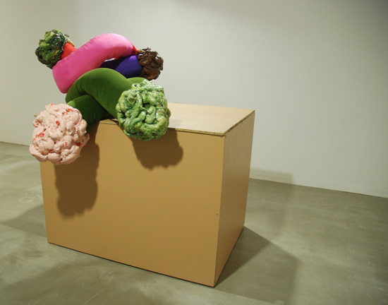 'Anxiety Knot (sick, snot)' & 'Anxiety Knot (shit, snot)' on 'Mediterranean brown plinth'.