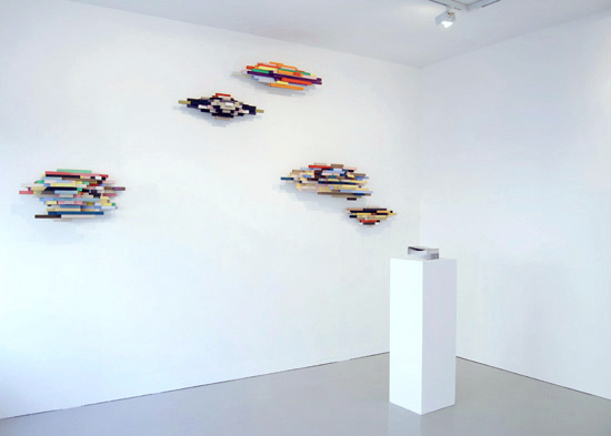 'Energy blocks (a curator's friend) 1,2,3,4 & 5', 2008, acrylic, gouache, balsa wood, dimensions variable up to 115cms and on plinth, 'Opera; A conversation with the artist including some highs and some lows', 2008, artist's book as sculpture