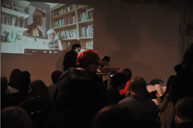 Angela McRobbie giving her paper over Skype during the 'Évasion Symposium', 18 February 2012, Herbert Art Gallery and Museum, Coventry.