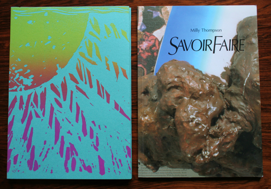 'Savoir Faire' catalogue includes an essay by Nicholas Cullinan and an interview with Milly by Andrew Hunt. Printed in an edition of 500, full colour, sixty-four pages. The first 250 copies were signed and numbered with a hand-printed linocut dust jacket. ISBN 978-1-907185-01-4