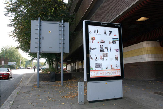 C21st ART-WORKER, Digitally printed poster, 120 x 180cm, 2013 (with Alison Jones); displayed on Coventry city centre Clear Channel adboards from 25 September – 20 October.