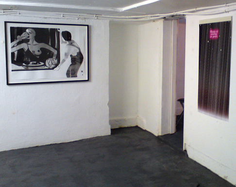 Installation view, left to right: Alison Jones, 'Moving the Helmut Newton, Weserburg Museum fur Moderne Kunst', 100 x 70cm, ink on paper, 2010; Milly Thompson, 'Beauty as isolating as genius, (Romance Poster Series I)', archival inkjet print, 109 x 55cm, 2010