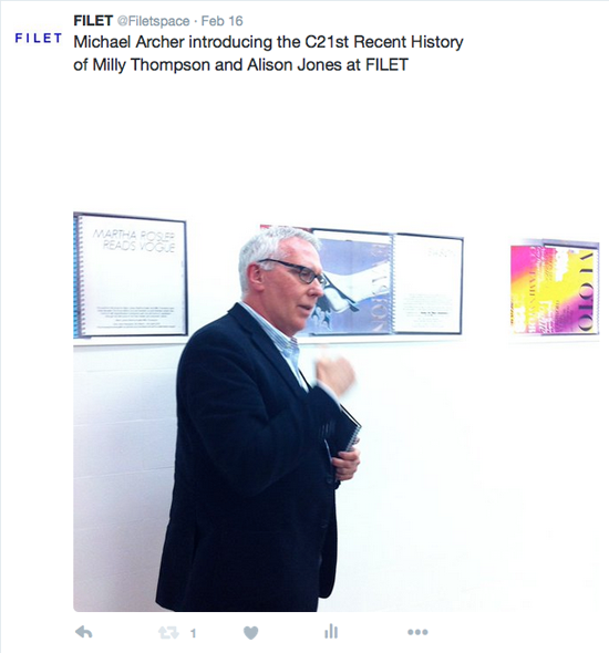 Michael Archer talking about 'C21ST RECENT HISTORY', at the Filet launch.