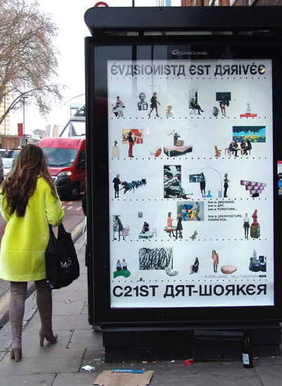 'C21st ART-WORKER', 2016, Alison Jones and Milly Thompson; installed on Old Street roundabout during the launch of 'C21ST RECENT HISTORY', Valentines Day, 2016