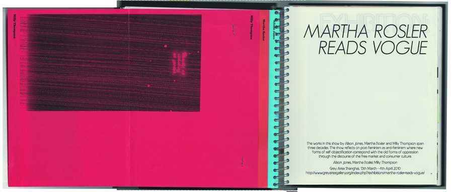 The exhibition 'Martha Rosler reads Vogue' was accompanied by a 3 page zine, included here as a fold-out.