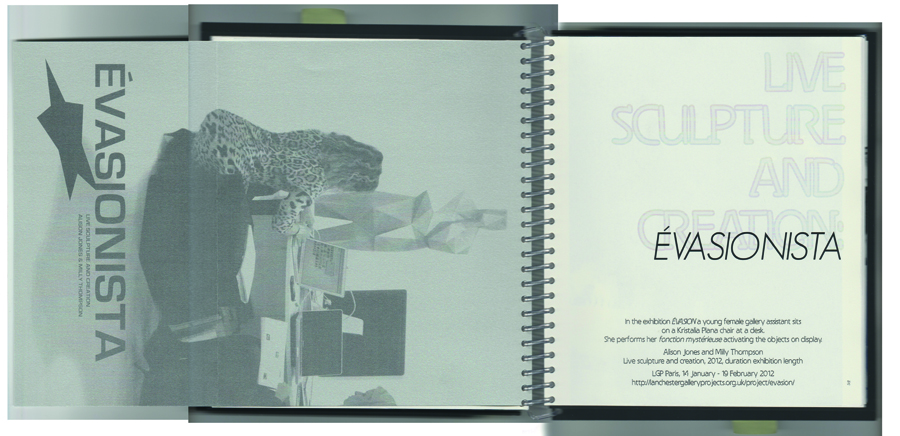 An 'advert' for a 'live sculpture and creation' performed at the exhibition 'Évasion'. It is riso printed in black on Stardream Metallic SILVER included here as a fold-out.