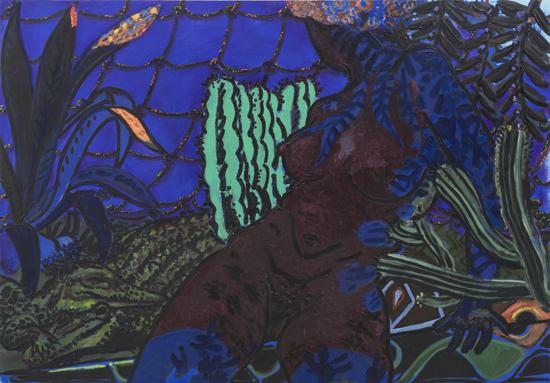 Rafaela in her lair, 2015, oil and acrylic on board, 71 x 101.5cm