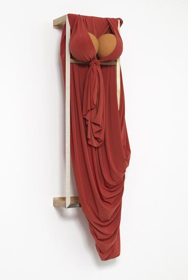 'Desert Siren ~ Za'atar Red', 2013, Viscose jersey, polystyrene, acrylic, wood, 131 x 37 x 30 cm